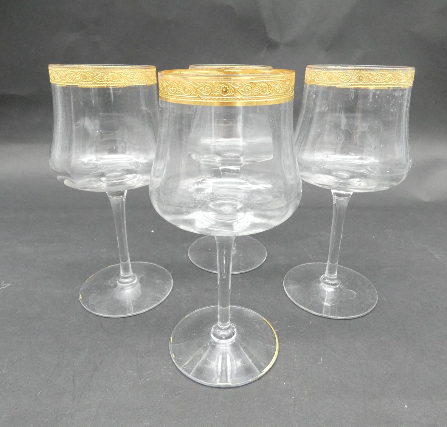 A collection of glasses. Including a set of five sherry glasses with gilded Orion symbols, along - Image 12 of 14