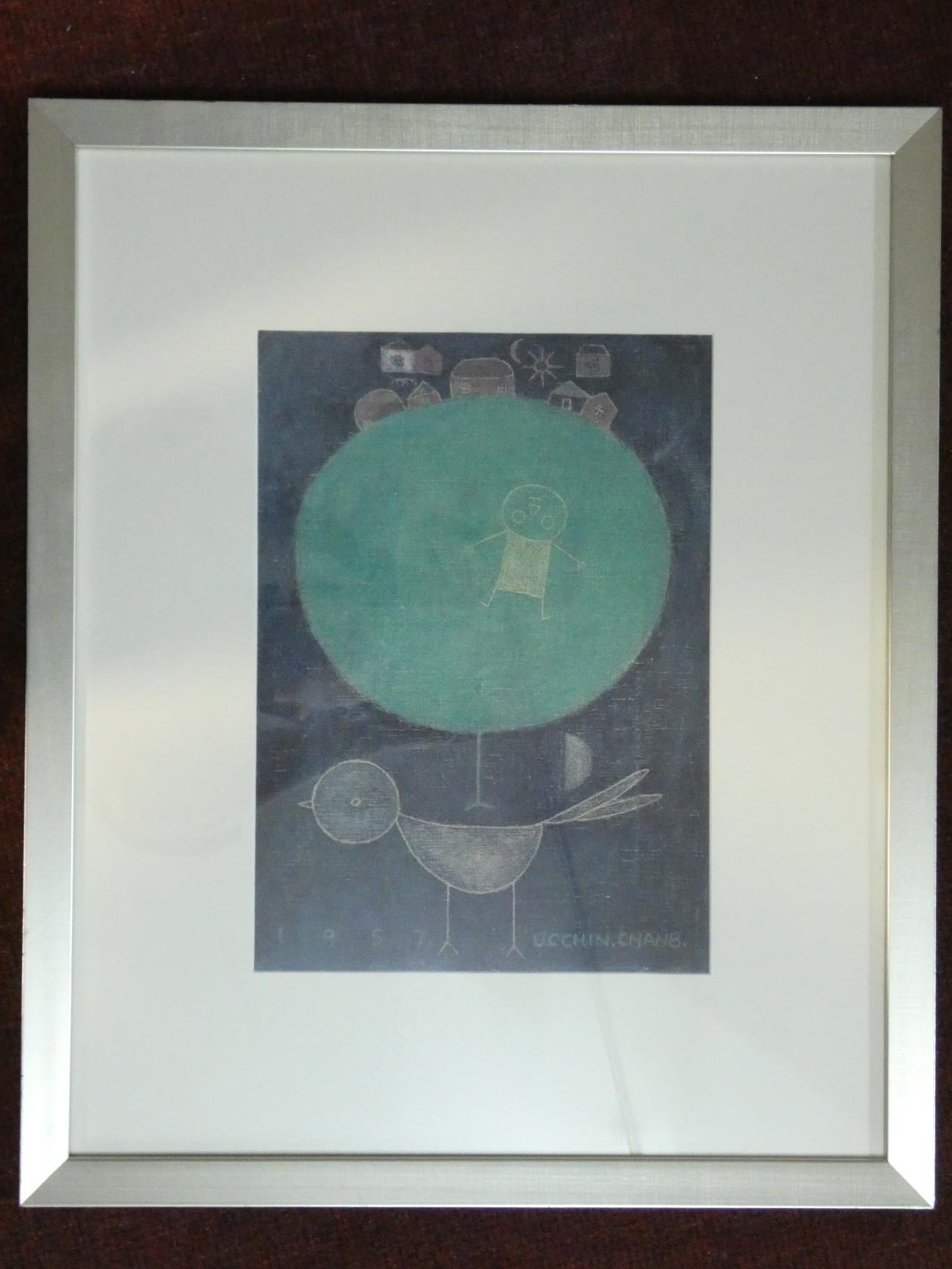 A framed and glazed print by Korean artist Chang Ucchin (1918 - 1990), 'The Tree and a Bird'. H.64 - Image 2 of 5