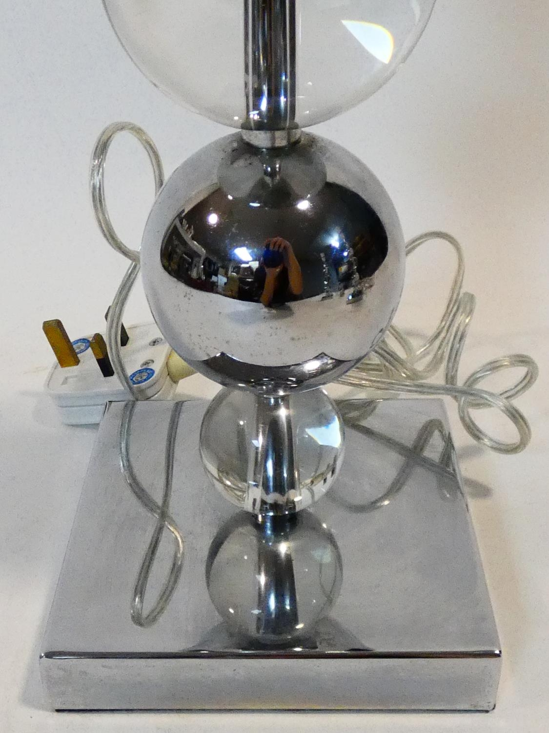A set of three chrome and bubble glass table lamp bases. H.50cm - Image 4 of 10