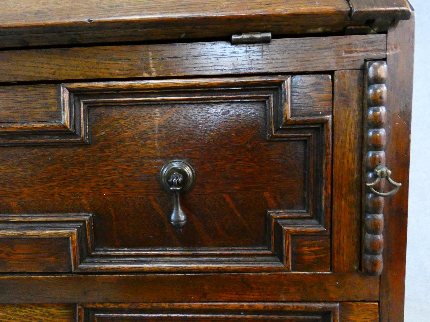 A mid century Jacobean style oak bureau with lozenge inset panels and fall front revealing fitted - Image 8 of 26