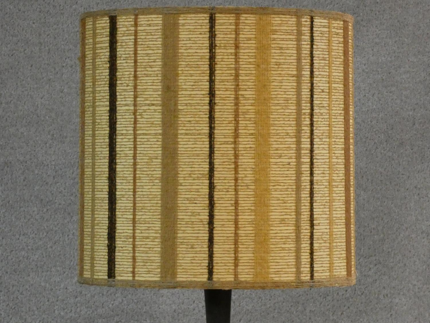 A 1960's vintage brass and teak standard lamp with original textile shade. H.170cm - Image 4 of 8