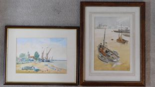Two framed and glazed watercolours of boats. One signed Coxall and one monogrammed. H.56 W.43cm