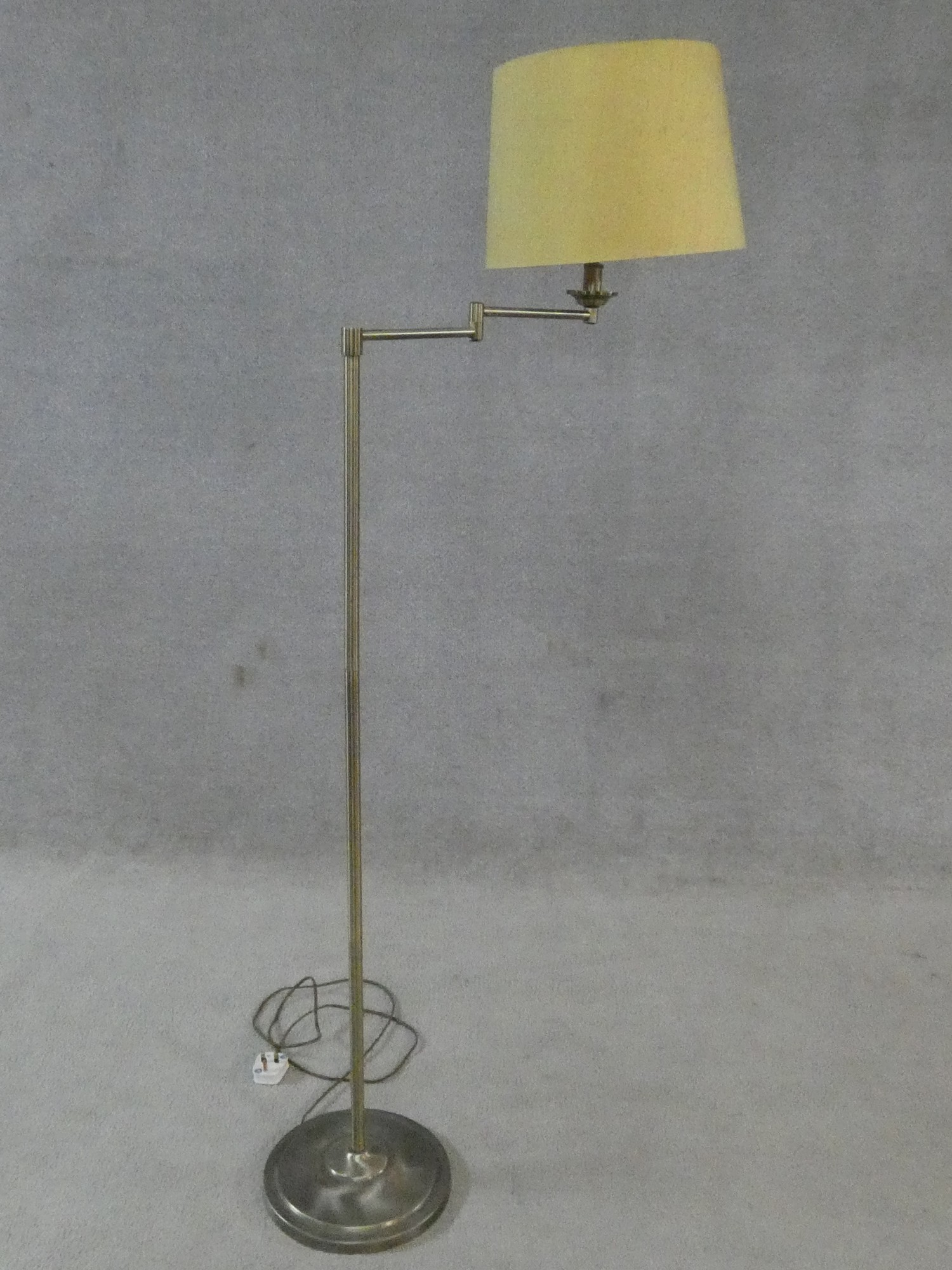 Two brass standard lamps with articulated actions and a chrome adjustable standard lamp. H.162cm - Image 13 of 16