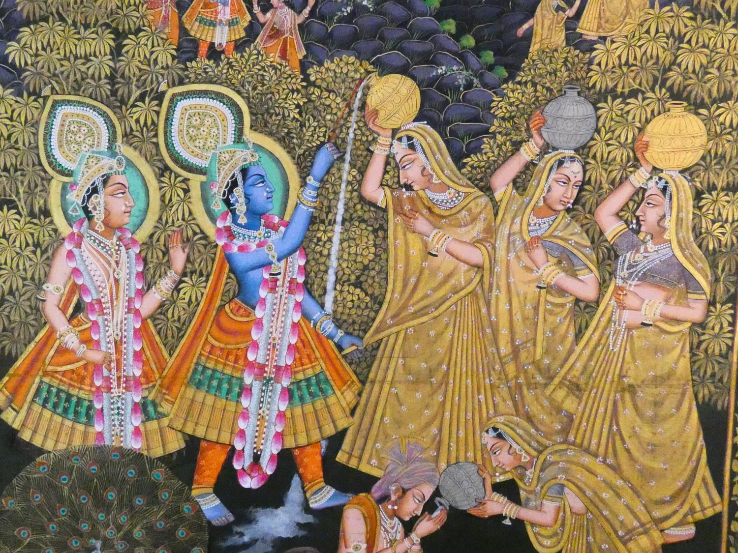 A large framed Indo-Persian gilded silk painting of Krishna with females surrounding him, standing - Image 3 of 8