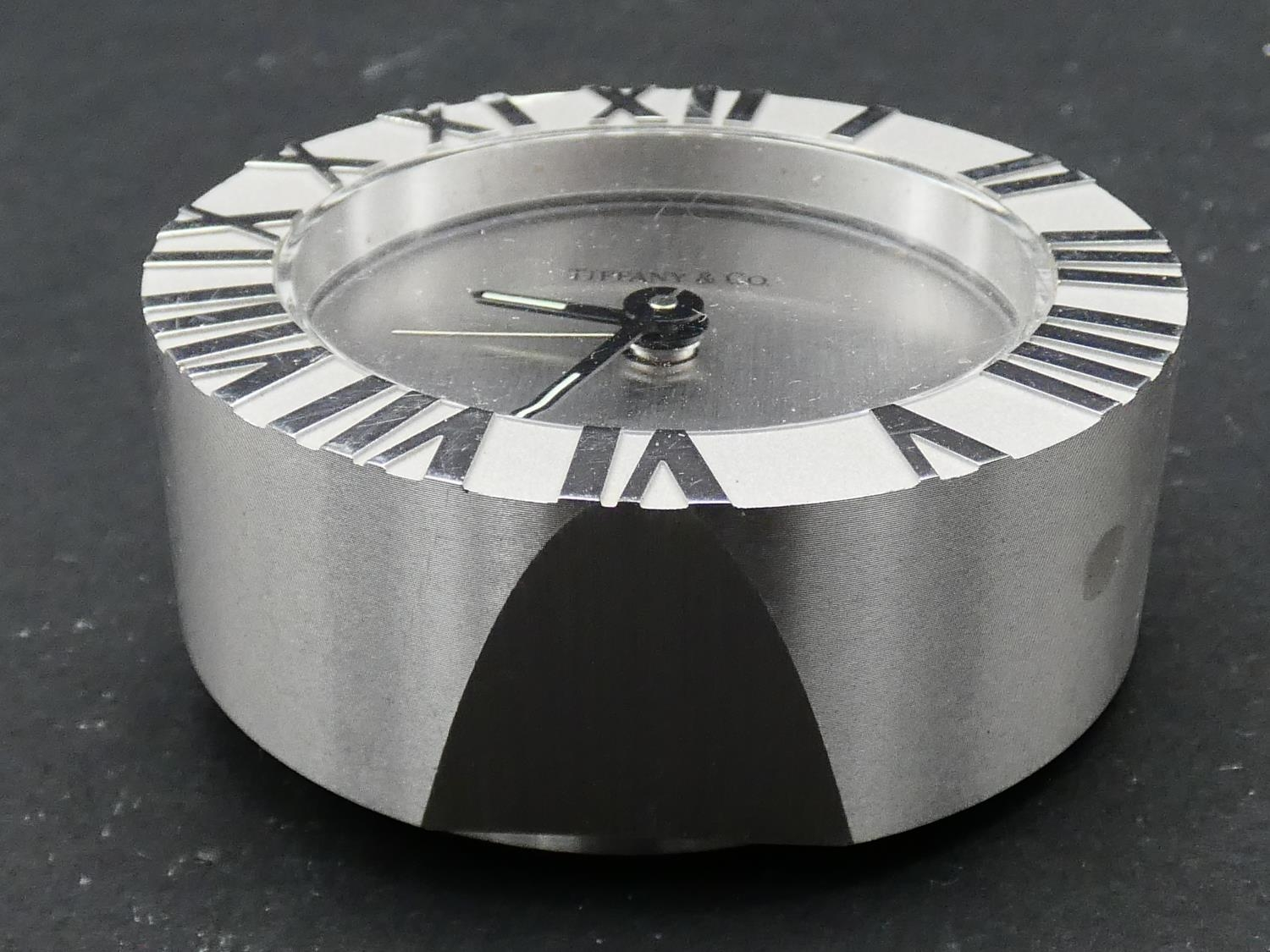 A Tiffany & Co Swiss made stainless steel Roman numeral quartz alarm clock with brushed chrome bezel - Image 3 of 6