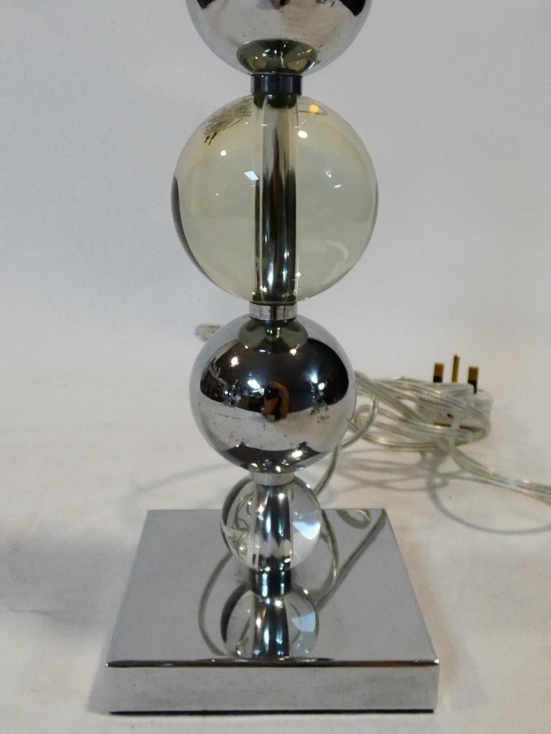 A set of three chrome and bubble glass table lamp bases. H.50cm - Image 8 of 10