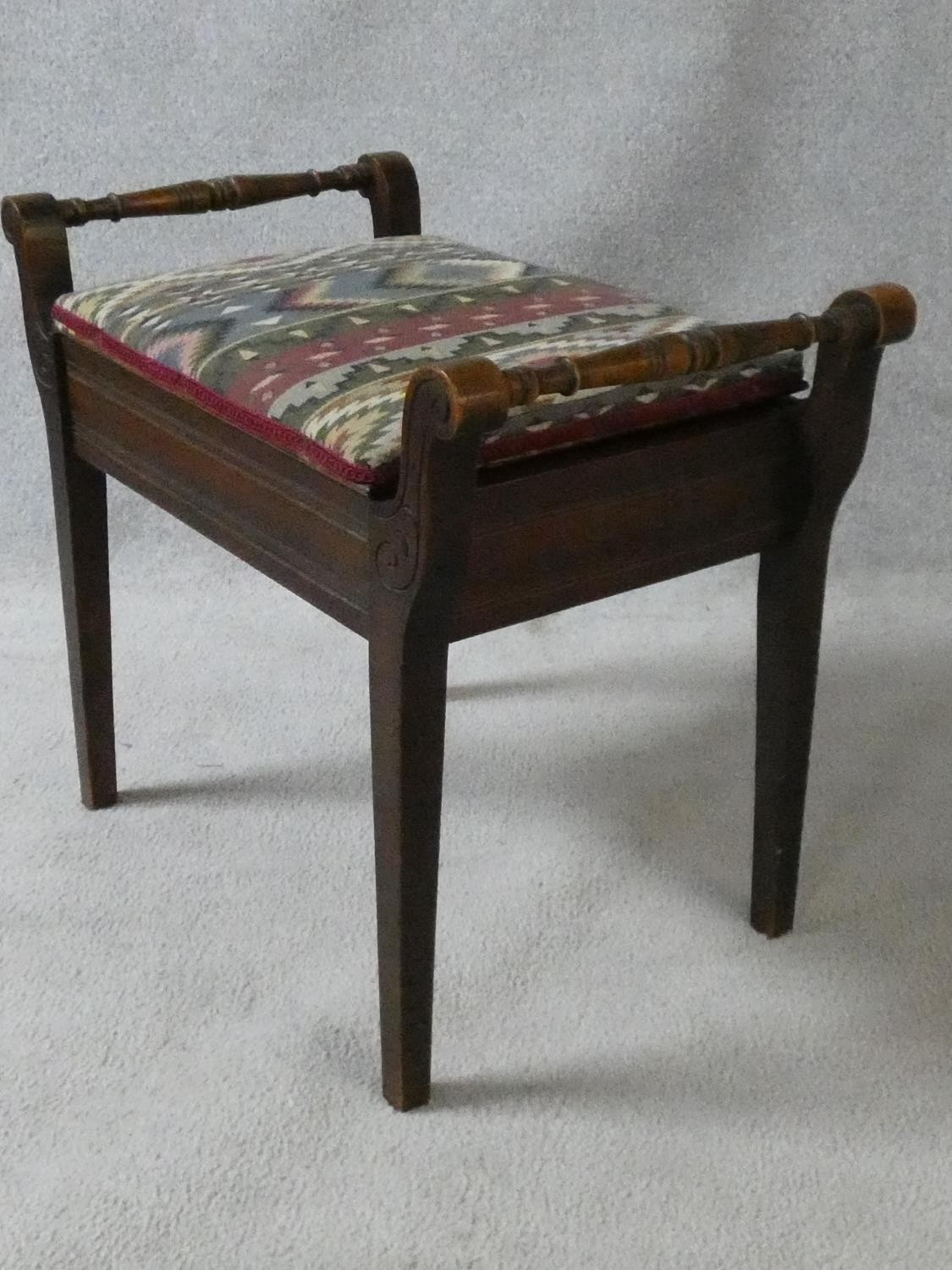 A late 19th century mahogany piano stool on square tapering supports. H.51XL.58XW.35 - Image 3 of 6