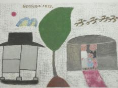 A framed and glazed signed print by Korean artist Chang Ucchin (1918 - 1990), titled 'Family',