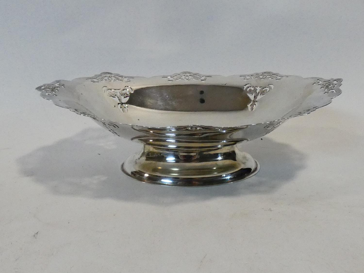 A silver plated twin handled galleried tray along with a silver plated comport with pierced - Image 2 of 7