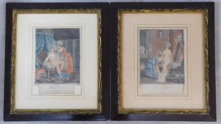 Two gilded framed and glazed antique hand coloured French engravings of nude ladies, one titled '