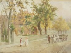 A 19th century framed and glazed watercolour, village street scene with figures, signed C Windsor.