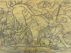 A framed and glazed signed print by Korean artist Lee Jeung Seob (1916-1956), titled 'A Bull, Bird