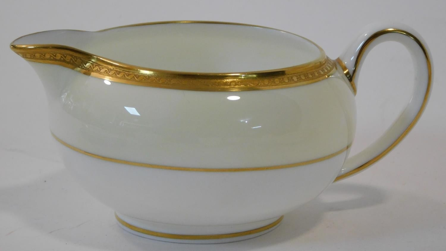 A six person part scrolling gilded design porcelain Wedgwood coffee set, pattern number W4249. - Image 11 of 12