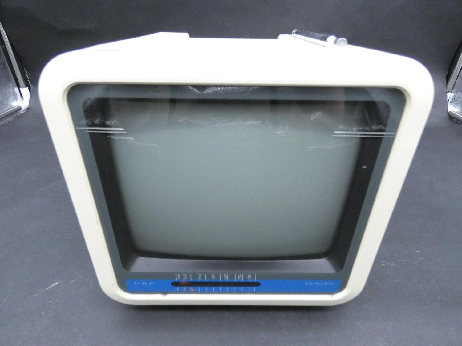 A Vintage Boot's MTV7 Black and White Portable TV 7 inch. H.9 W.19 D.23cm - Image 2 of 7