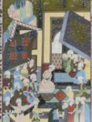 A 20th century framed and glazed Indo-Persian silk painting of a court scene, with a floral design