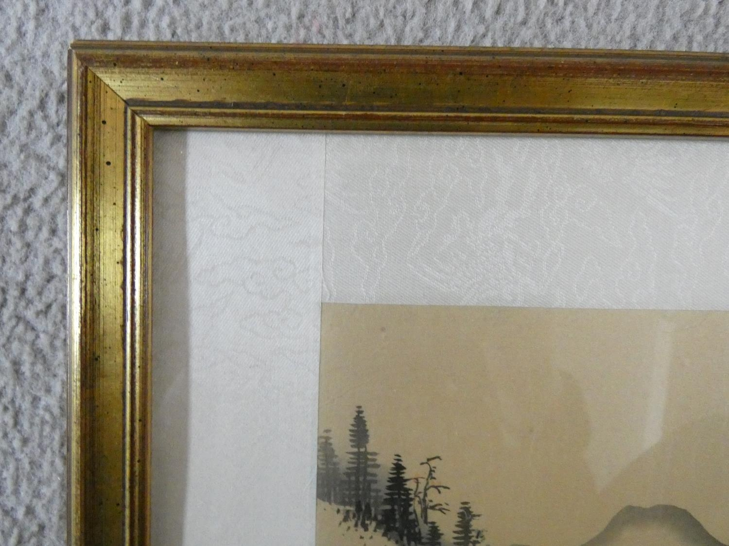 A framed and glazed ink on silk, Japanese mountainscape, stamped. 43x50cm - Image 3 of 5