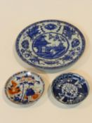 Three 18th century Chinese porcelain hand painted export ware dishes. One Kangxi style plate with