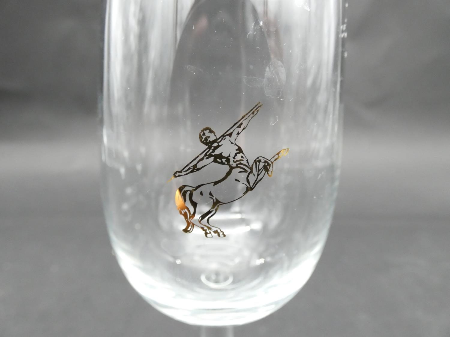 A collection of glasses. Including a set of five sherry glasses with gilded Orion symbols, along - Image 9 of 14