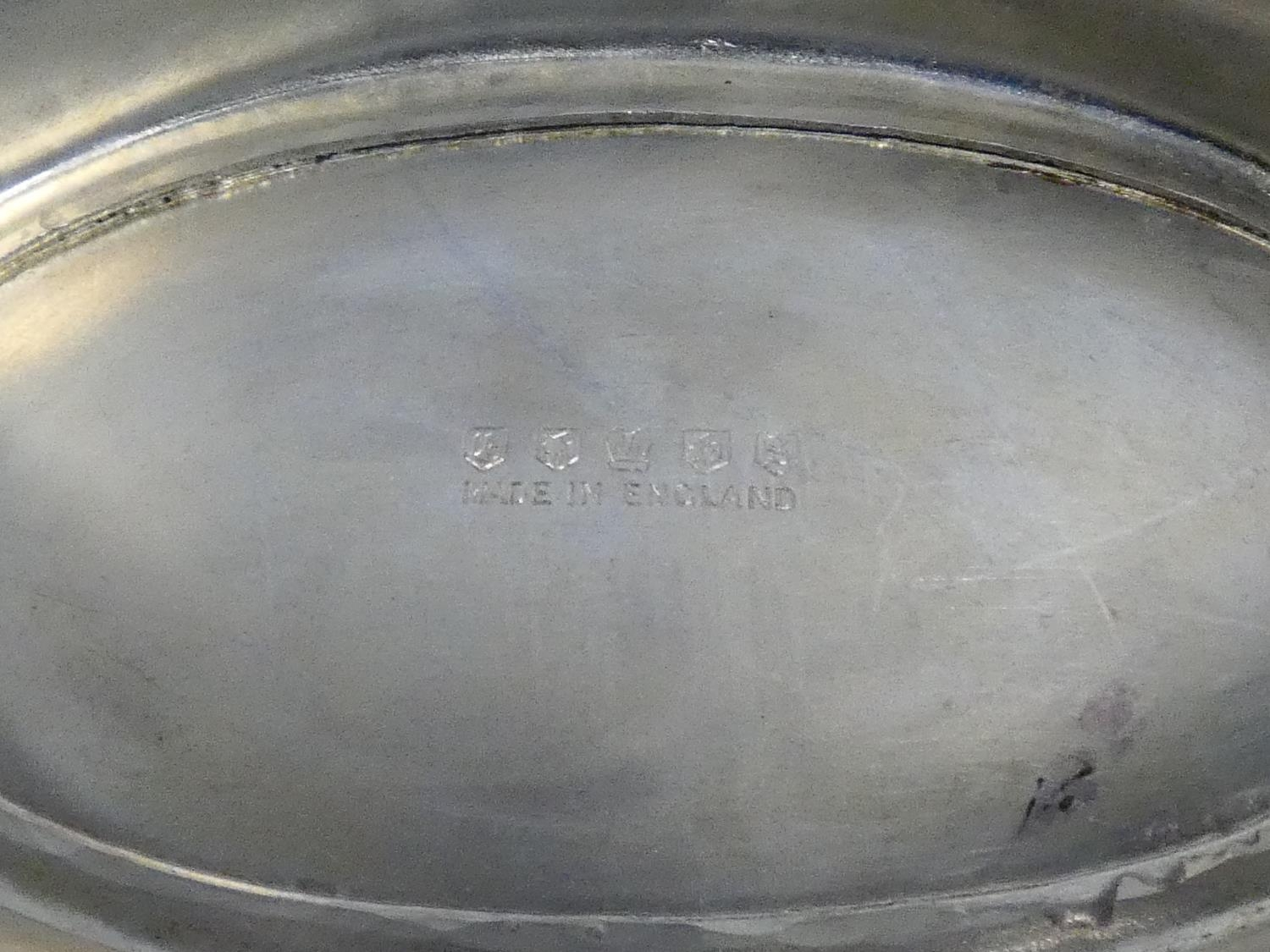 A silver plated twin handled galleried tray along with a silver plated comport with pierced - Image 4 of 7