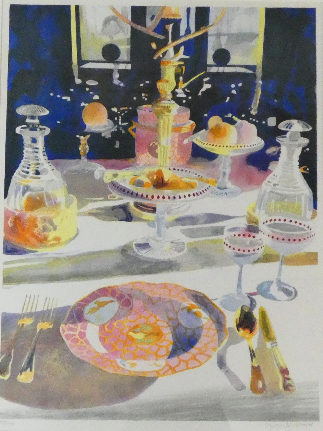 A framed and glazed signed coloured lithograph by British artist and illustrator Glynn Boyd