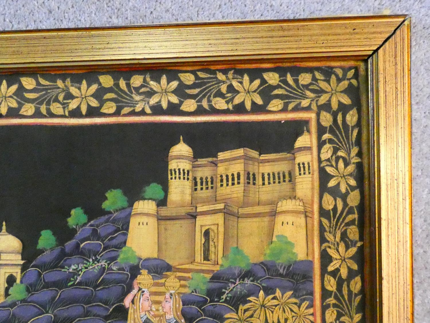 A large framed Indo-Persian gilded silk painting of Krishna with females surrounding him, standing - Image 4 of 8