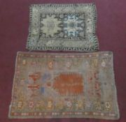 A Persian prayer rug and a smaller Eastern rug. H.162xW.108cm