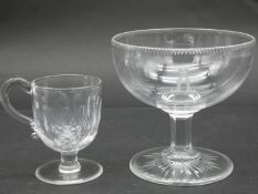 A 19th century petal faceted handled posset glass along with a cut rim stemmed ice cream bowl with