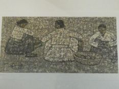 A framed and glazed signed print by Korean Painter Park Soo-Keun (1914?1965), titled 'Three Women'