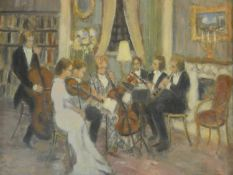 Harold Harris Jones (1908-1991), a framed and glazed oil on board, classical music performance in an