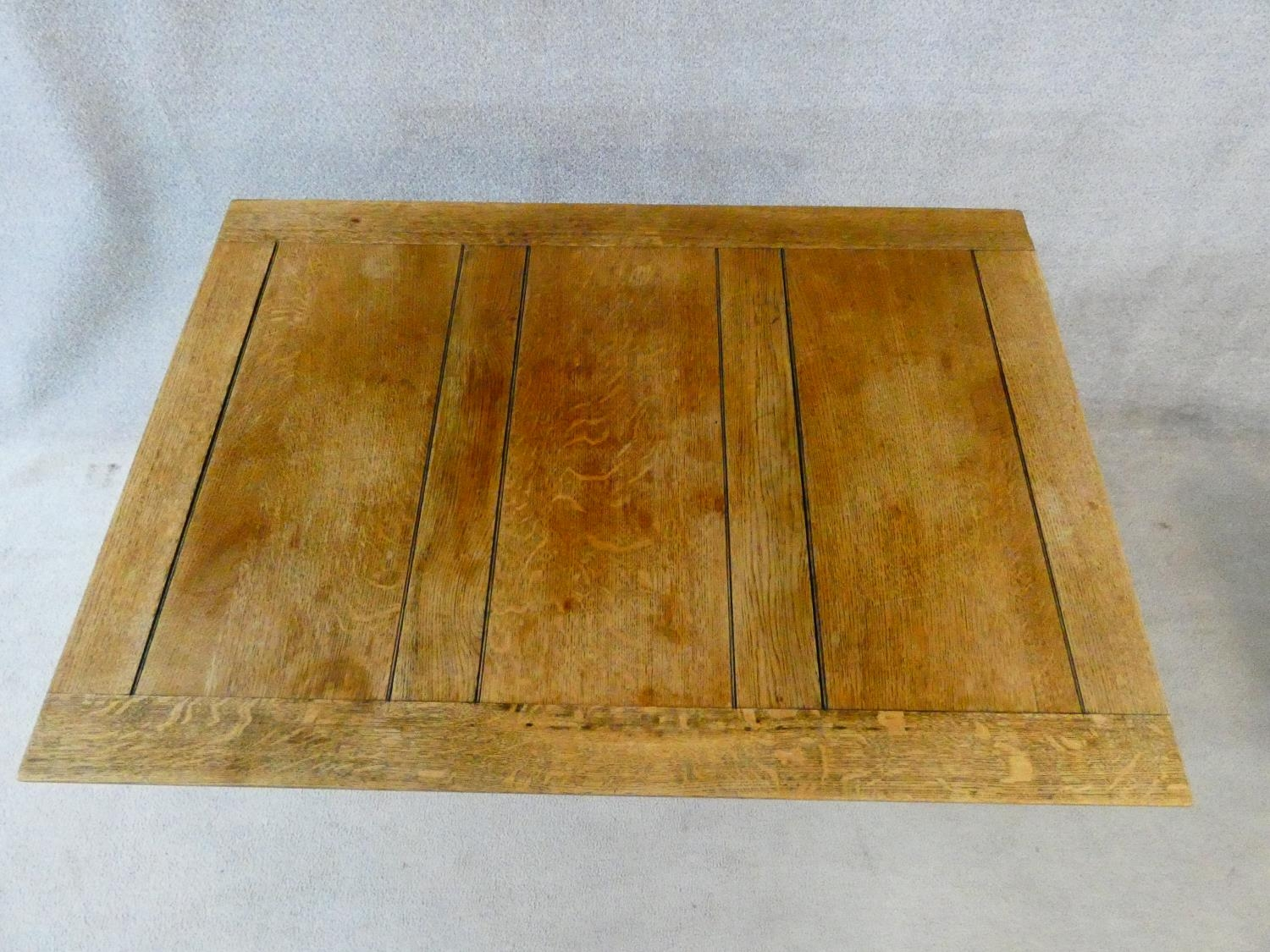 A mid century Jacobean style oak draw leaf dining table on stretchered baluster base. H.75 L.121 ( - Image 6 of 10
