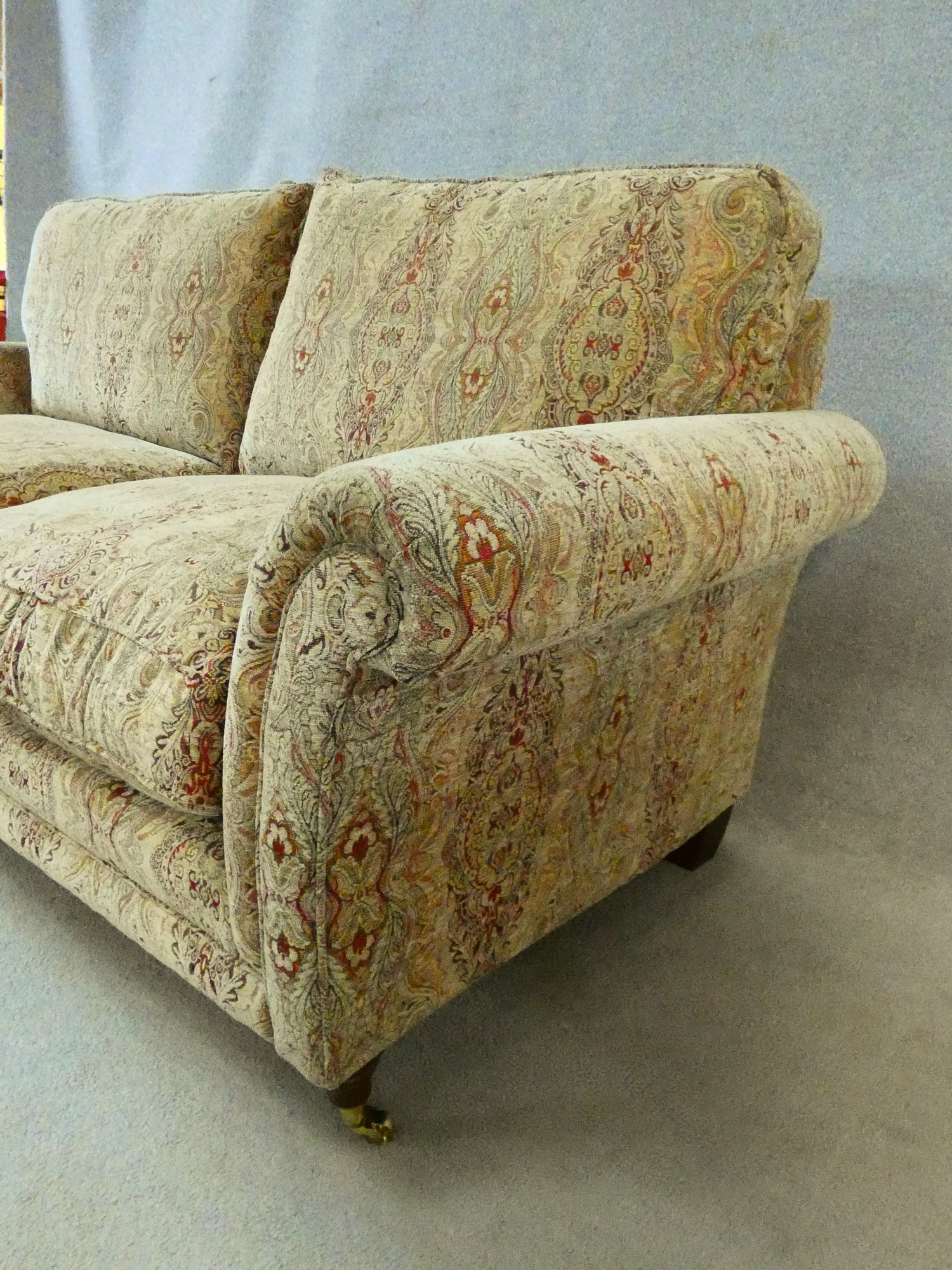 A large Parker Knoll two seater Burghley sofa in Baslow Medalli gold upholstery raised on turned - Image 7 of 10