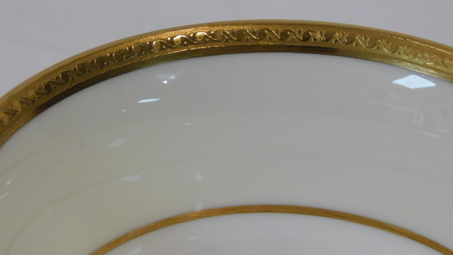 A six person part scrolling gilded design porcelain Wedgwood coffee set, pattern number W4249. - Image 6 of 12