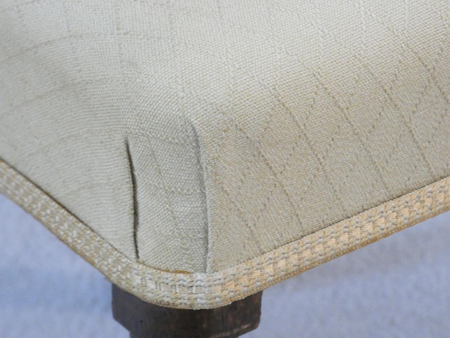A set of four late Georgian mahogany bar back dining chairs with ebony Greek key pattern inlay above - Image 7 of 7