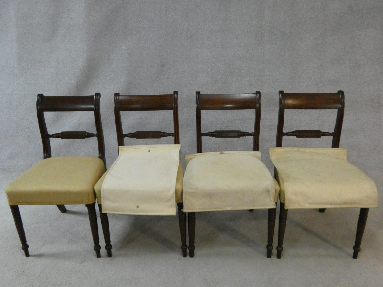 A set of four late Georgian mahogany bar back dining chairs with ebony Greek key pattern inlay above - Image 2 of 7