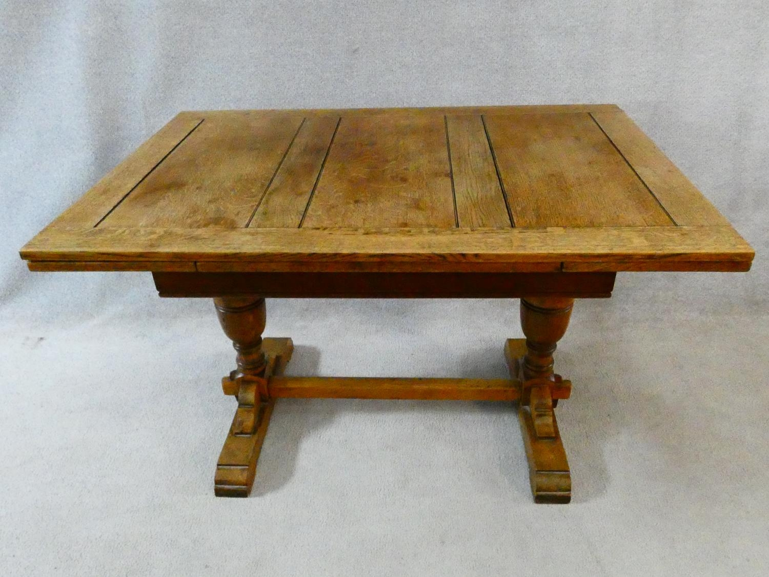 A mid century Jacobean style oak draw leaf dining table on stretchered baluster base. H.75 L.121 ( - Image 5 of 10
