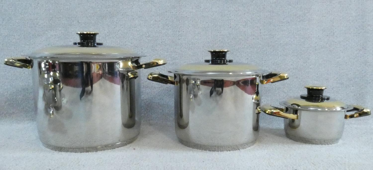 A set of boxed stainless steel as new Cameo Royale pans and cookware with 24k gold plated - Image 3 of 22