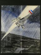 A framed and glazed pen and colour crayon study of a war bi-plane in a search light. H.51 W.44cm