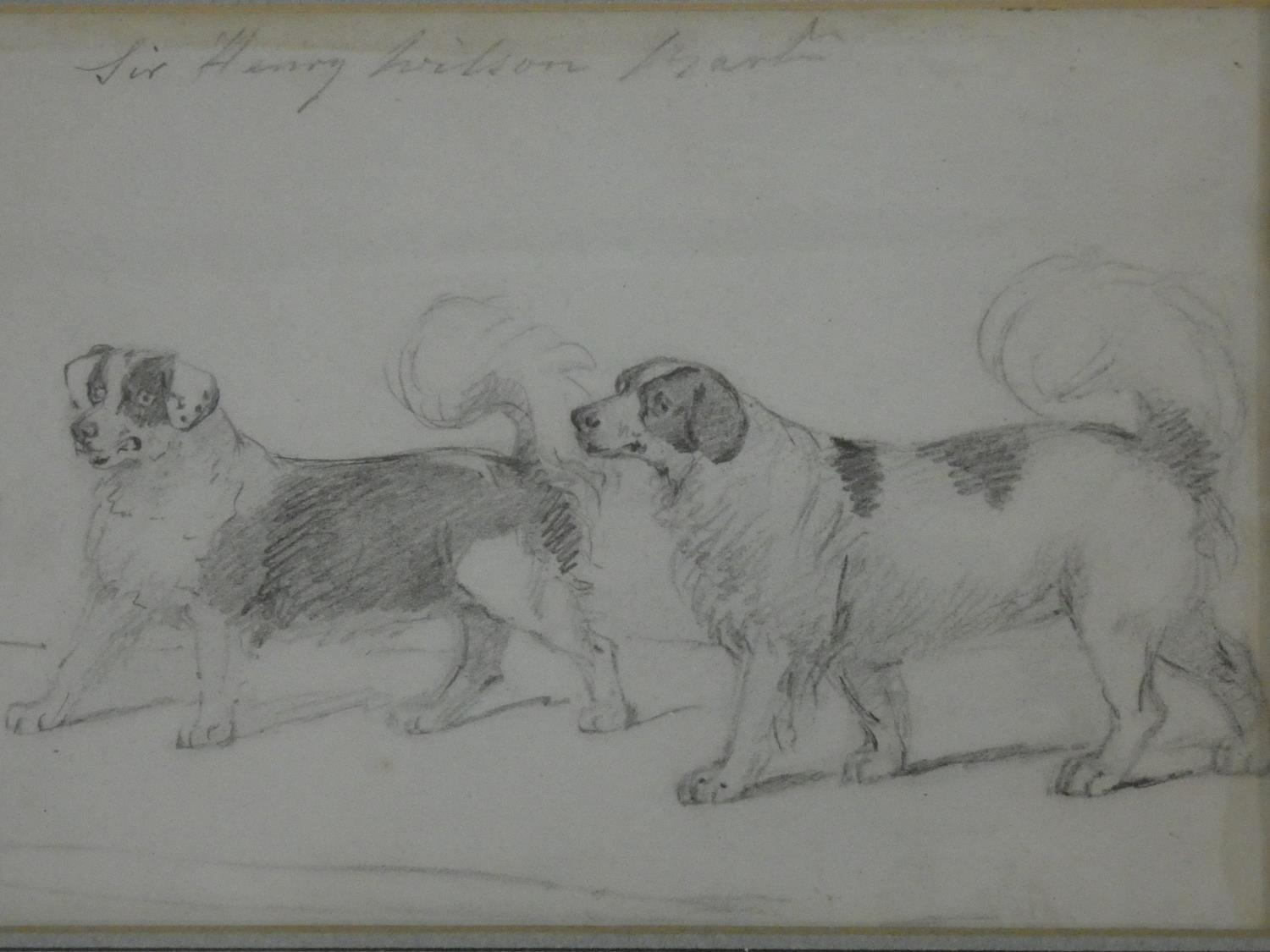 Two 19th century framed and glazed pencil studies, figures in a stable yard and Sir Henry Wilson's - Image 3 of 4