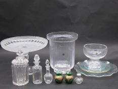 A collection of crystal and glass items. Including four Chance glass swirl pattern plates with