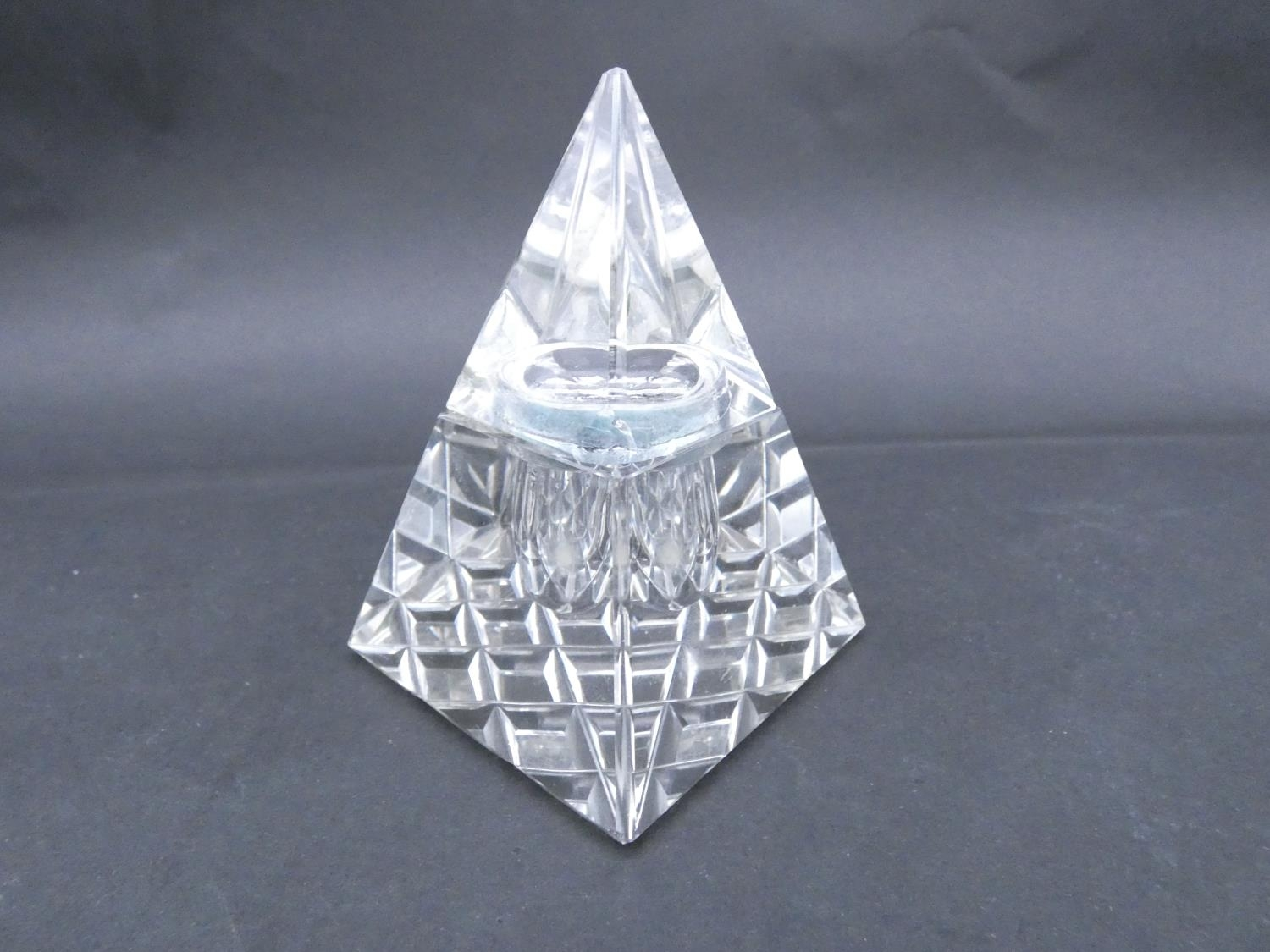 An antique cut glass and brass pyramidal ink well along with a weighted silver ashtray. Hallmarked: - Image 14 of 20