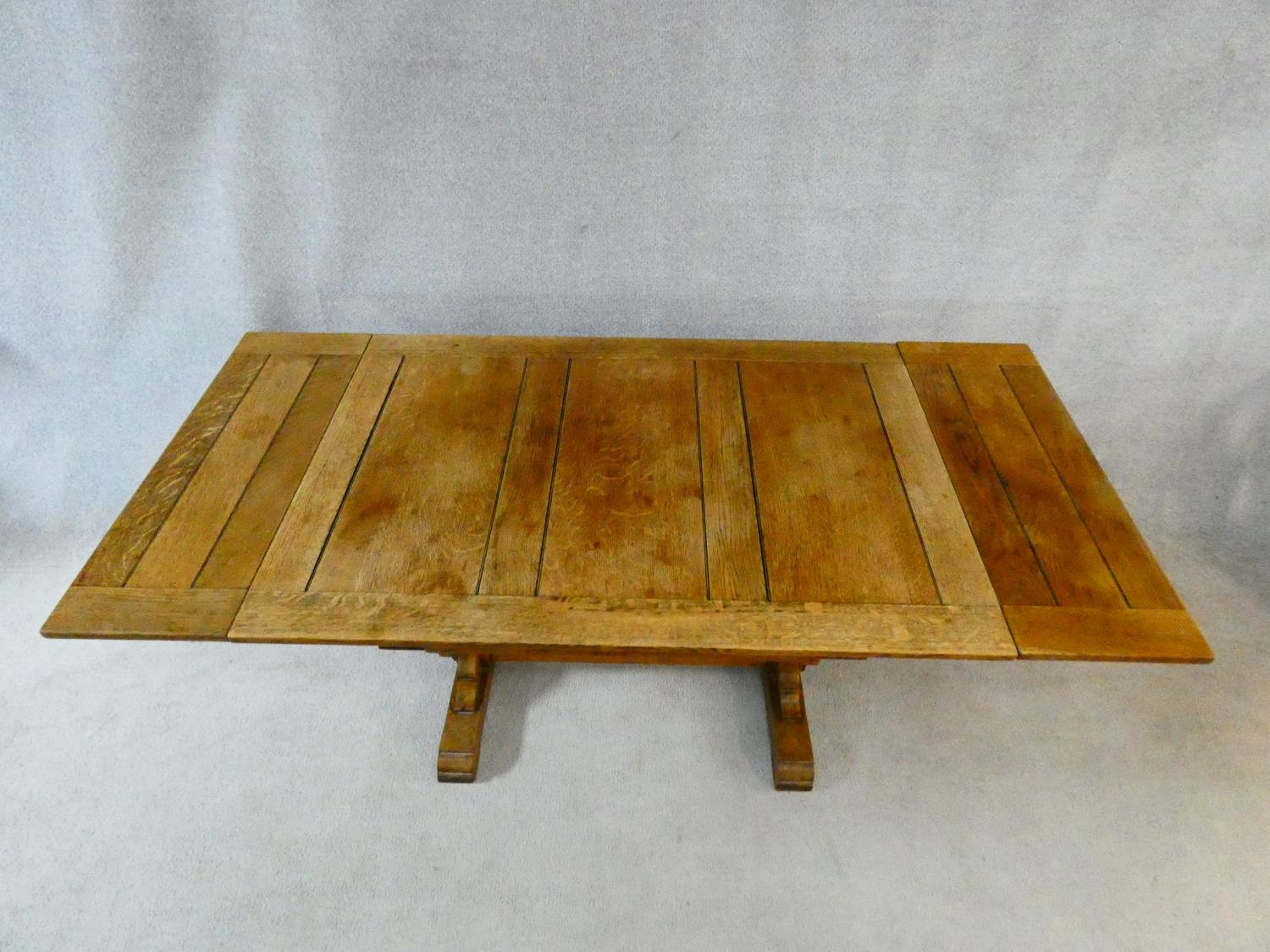 A mid century Jacobean style oak draw leaf dining table on stretchered baluster base. H.75 L.121 ( - Image 2 of 10