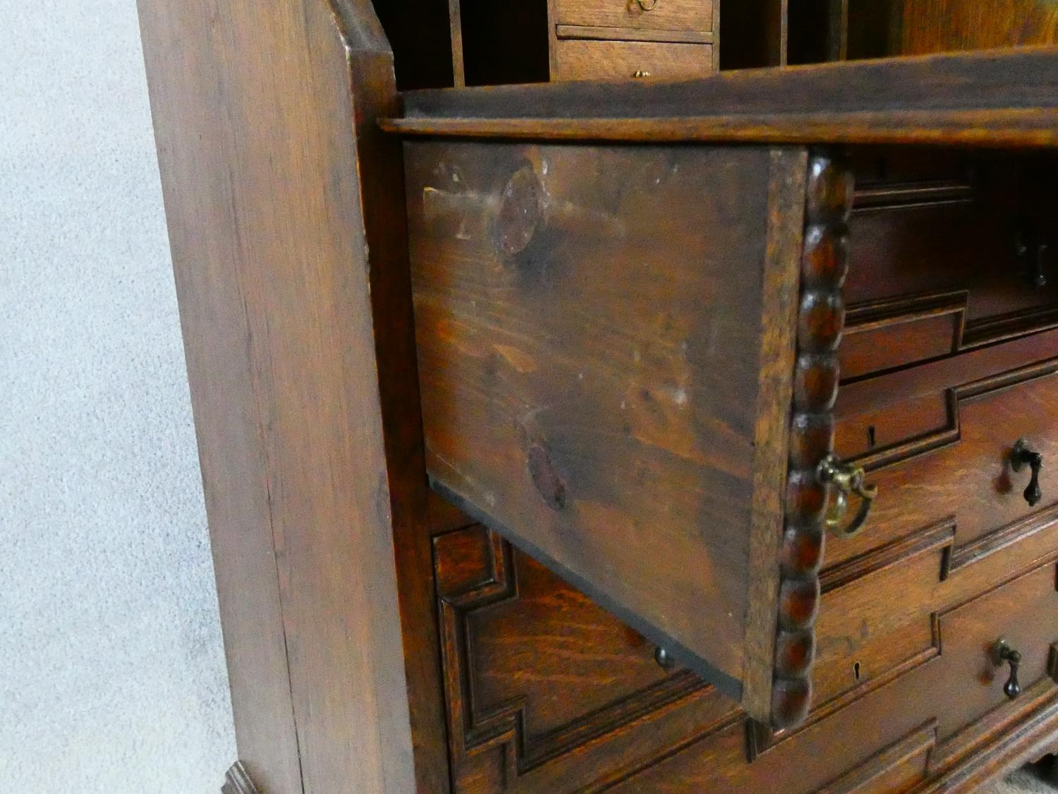 A mid century Jacobean style oak bureau with lozenge inset panels and fall front revealing fitted - Image 23 of 26