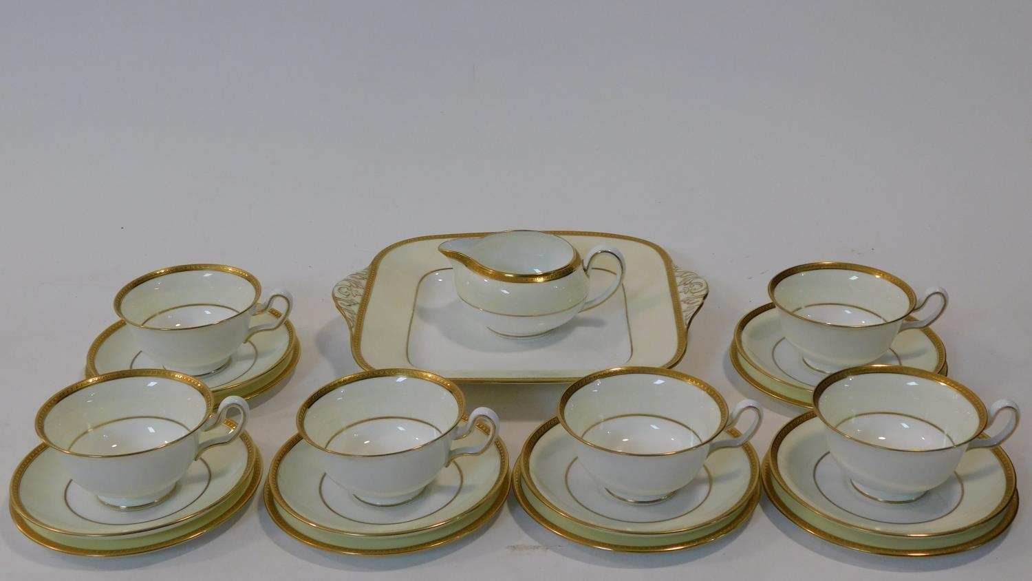 A six person part scrolling gilded design porcelain Wedgwood coffee set, pattern number W4249. - Image 2 of 12