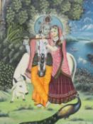 A 20th century large framed and glazed Indo-Persian silk painting of Radha Krishna, with a couple
