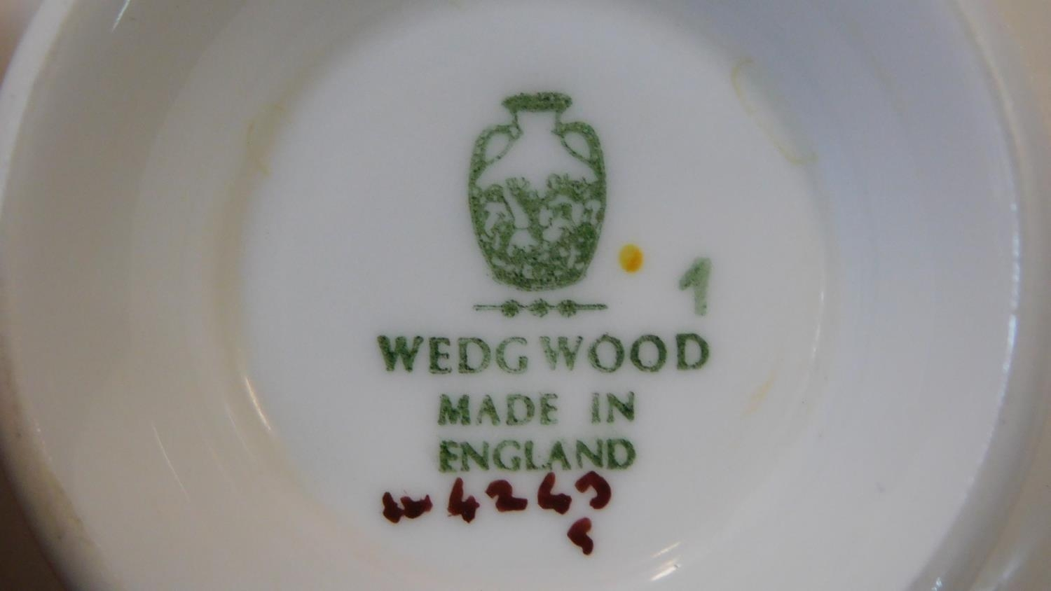 A six person part scrolling gilded design porcelain Wedgwood coffee set, pattern number W4249. - Image 7 of 12