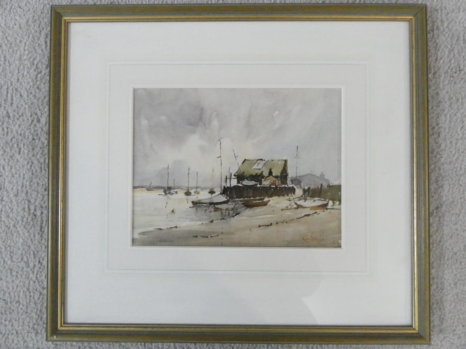 Roy Seville (1911-1993) a framed and glazed watercolour, moored sailing boats, signed. H.48xW.43cm - Image 2 of 5