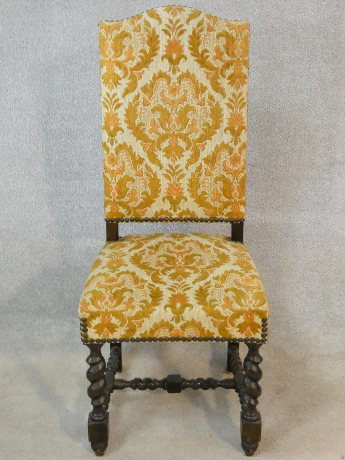 A set of six Jacobean style oak framed high back dining chairs in gold cut floral upholstery on - Image 4 of 14
