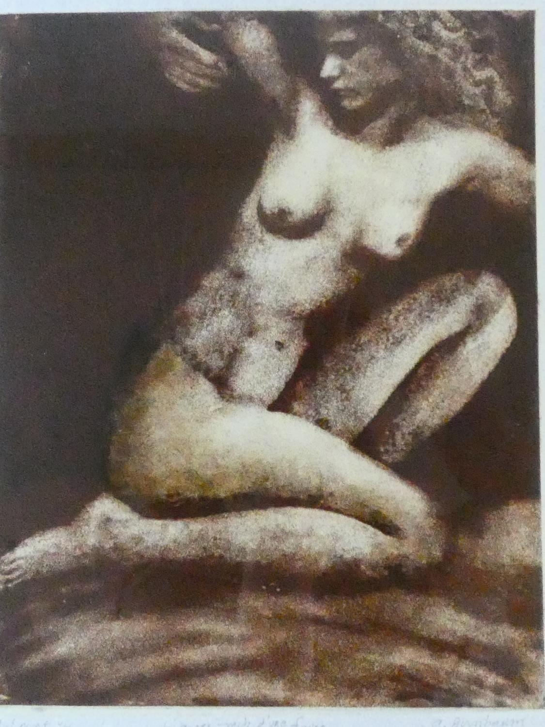 A framed and glazed limited signed artist's proof etching by American artist Aimee Birnbaum,