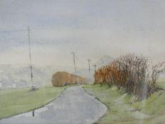 Allan Thomson, watercolour, rural lane, signed. H.39xW.28cm