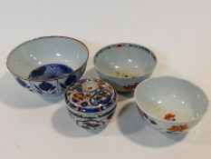 A collection of 18th and 19th century blue and white Chinese porcelain items. Including an Imari
